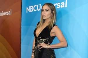 Jennifer Lopez in Seductive Black Thigh Dress