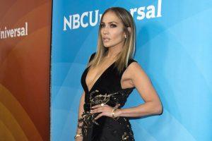 Jennifer Lopez in Seductive Black Thigh Dress